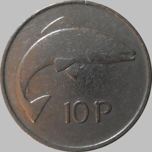 10 пенсов 1980 Ирландия. Лосось.