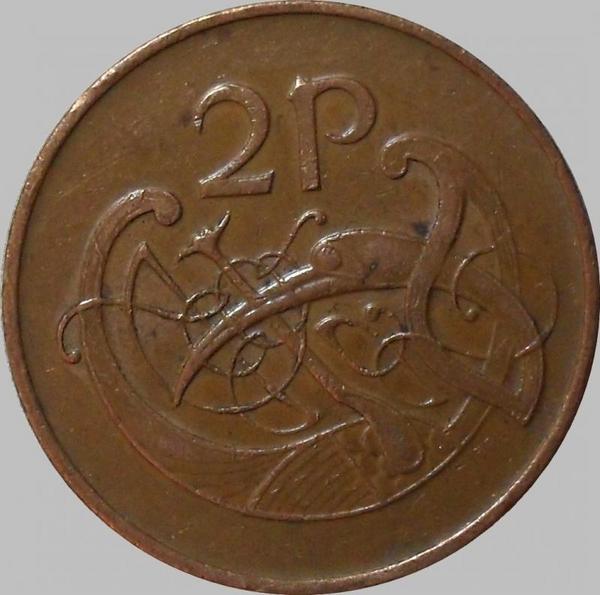 2 пенса 1982 Ирландия. Стилизованная птица.