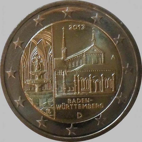 2 Евро 2013 А Германия. Баден-Вюртемберг (монастырь Маульбронн).