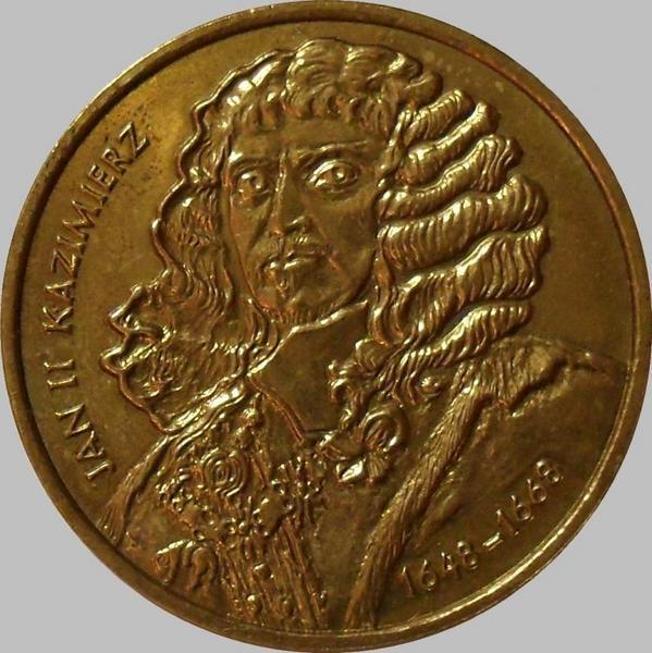 2 злотых 2000 Польша. Ян II Казимир.