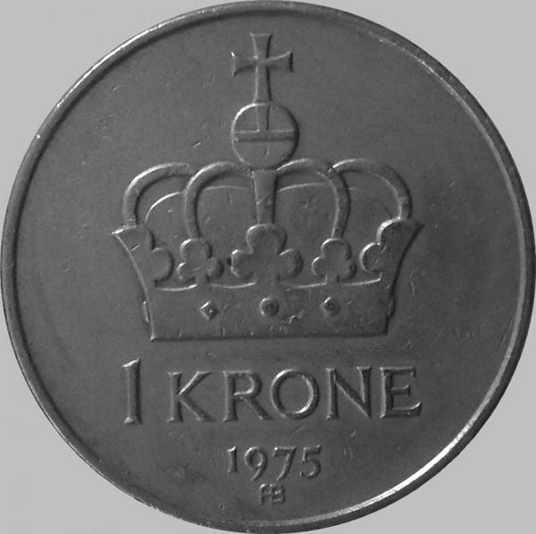1 крона 1975 Норвегия.