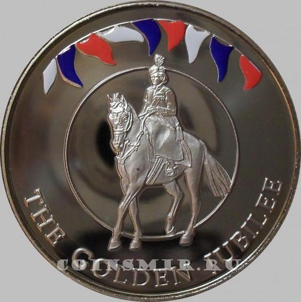 50 пенсов 2002 Фолклендские острова. Королева на коне. 50 лет правления.