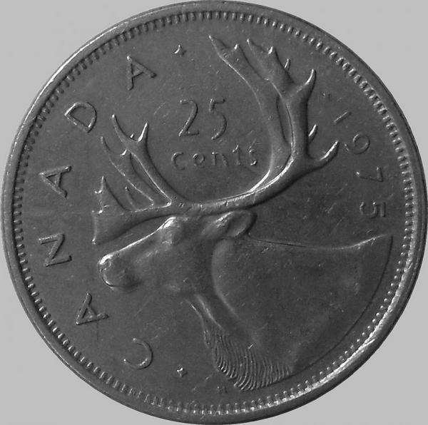 25 центов 1975 Канада. Северный олень.