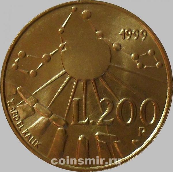 200 лир 1999 Сан-Марино. Солнце и созвездия над Стоунхенджем.