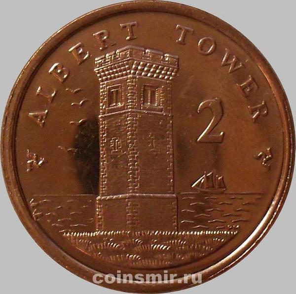 2 пенса 2009 Остров Мэн.Башня Альберта. (в наличии 2010 год)
