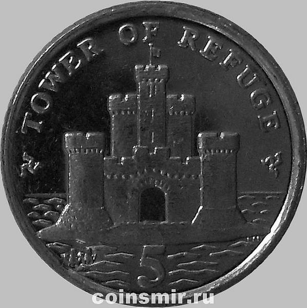 5 пенсов 2009 остров Мэн. Башня Убежище. (в наличии 2010 год)