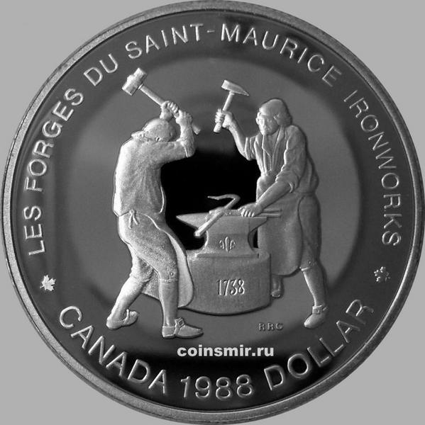 1 доллар 1988 Канада. Кузнецы. Пруф.