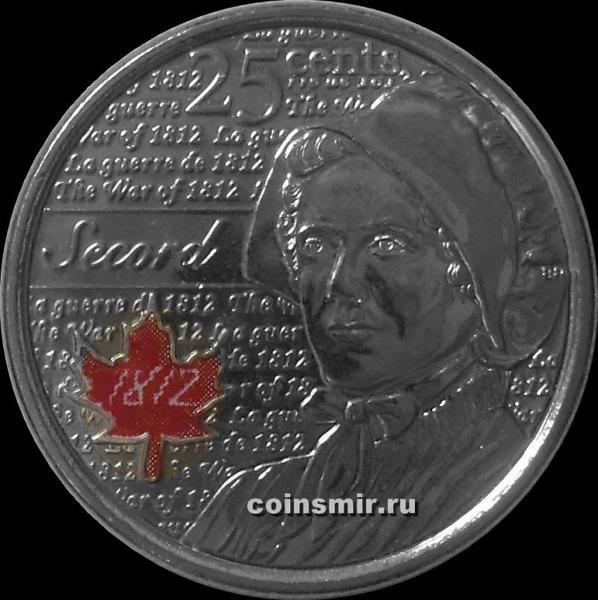 25 центов 2013 Канада. Лора Секорд. Цветная эмаль.