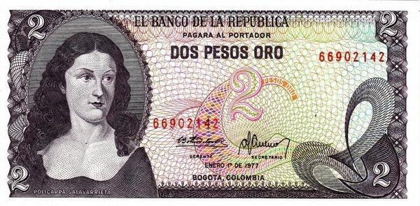 2 песо 1977 Колумбия.