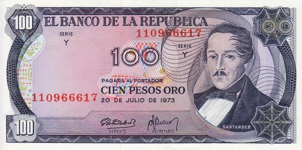 100 песо 1973 Колумбия.