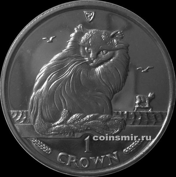 1 крона 1995 остров Мэн. Турецкая кошка.