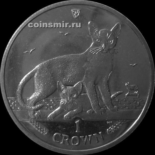 1 крона 2010 остров Мэн. Египетская кошка.