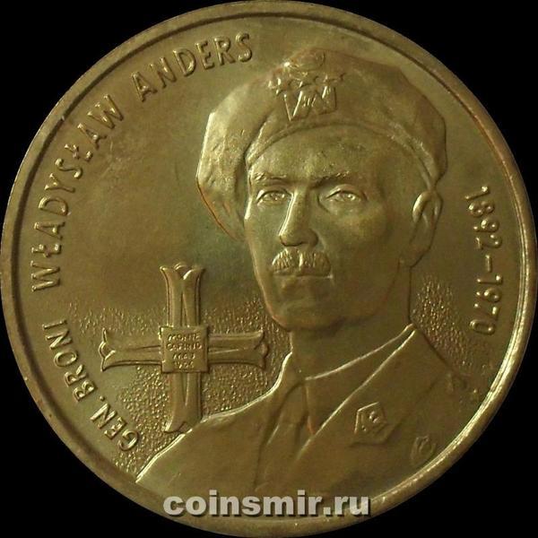 2 злотых 2002 Польша. Генерал Владислав Андерс.
