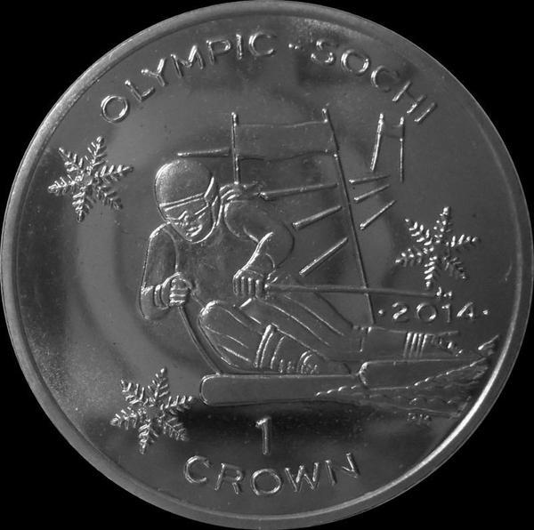 1 крона 2013 остров Мэн. Олимпиада в Сочи 2014. Горнолыжный спорт.