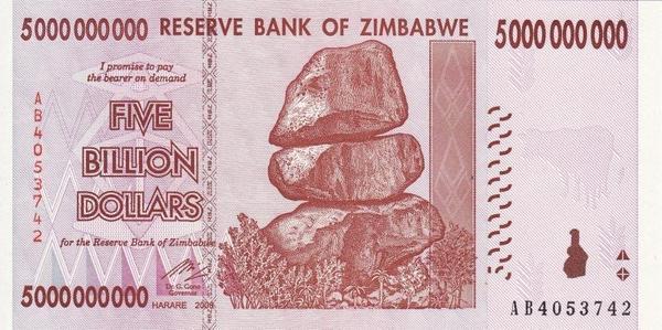 5 миллиардов долларов 2008 Зимбабве.