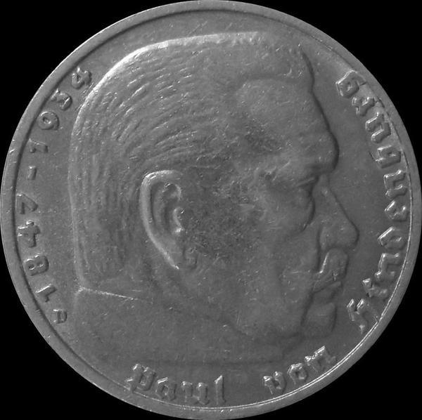 5 марок 1937 D Германия. Гинденбург.