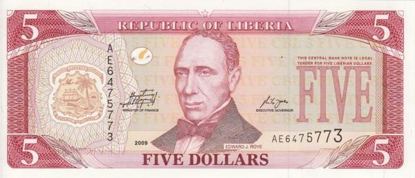 5 долларов 2009 Либерия.