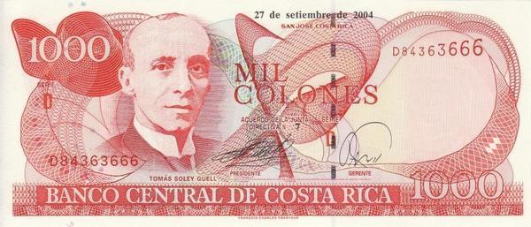 1000 колонов 2004 Коста-Рика.