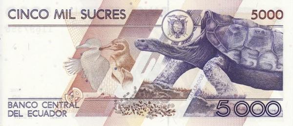 5000 сукре 1999 Эквадор.