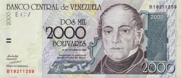 2000 боливаров 1998 Венесуэла.