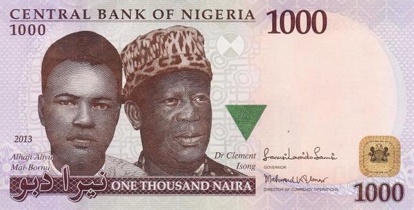 1000 найра 2013 Нигерия.