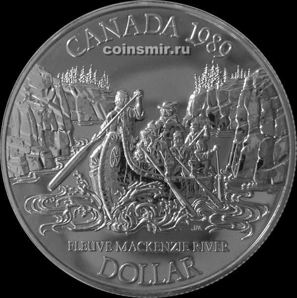 1 доллар 1989 Канада. Река Маккензи.
