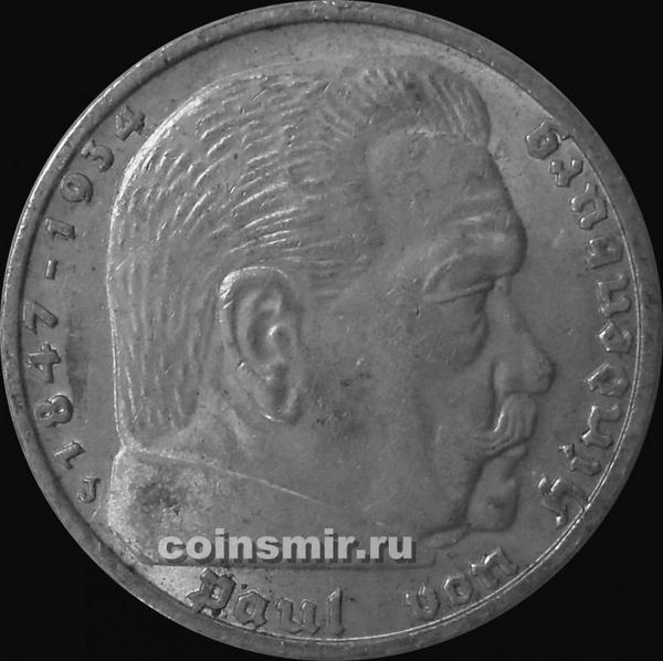 5 марок 1937 J Германия. Гинденбург.