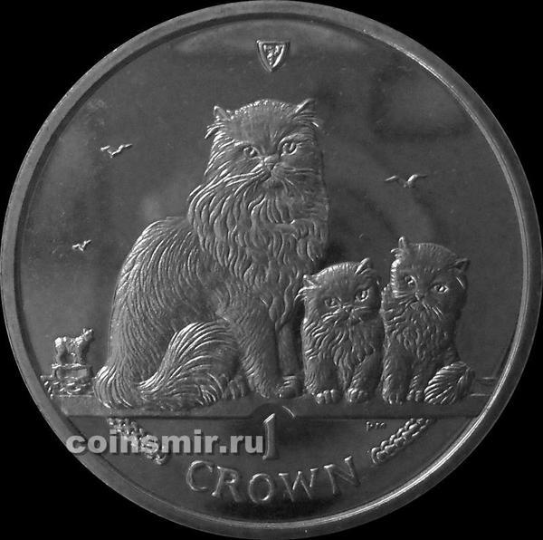 1 крона 2005 остров Мэн. Гималайская кошка.