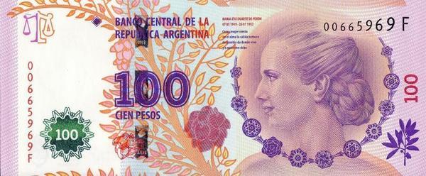 100 песо 2012 Аргентина. 60-ая годовщина смерти Эвы Эвиты Перон.