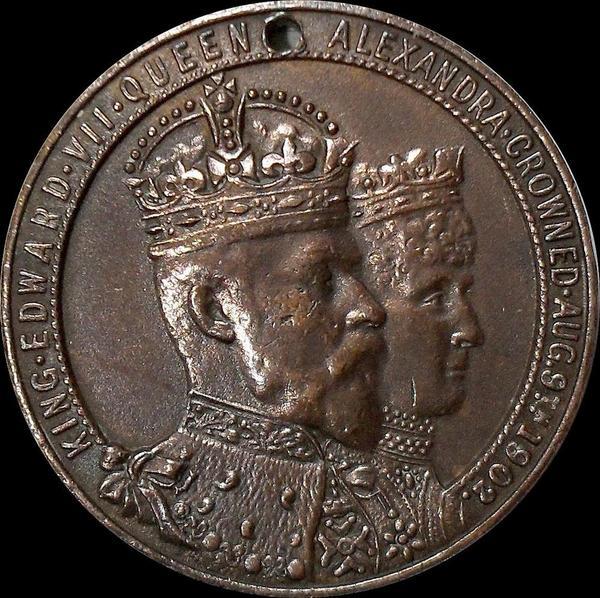 Жетон Король Эдуард VII и Королева Александра Датская. Коронация 9 августа 1902 года.