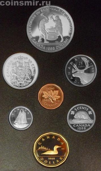 Набор из 7 монет 1988 Канада. Годовой.