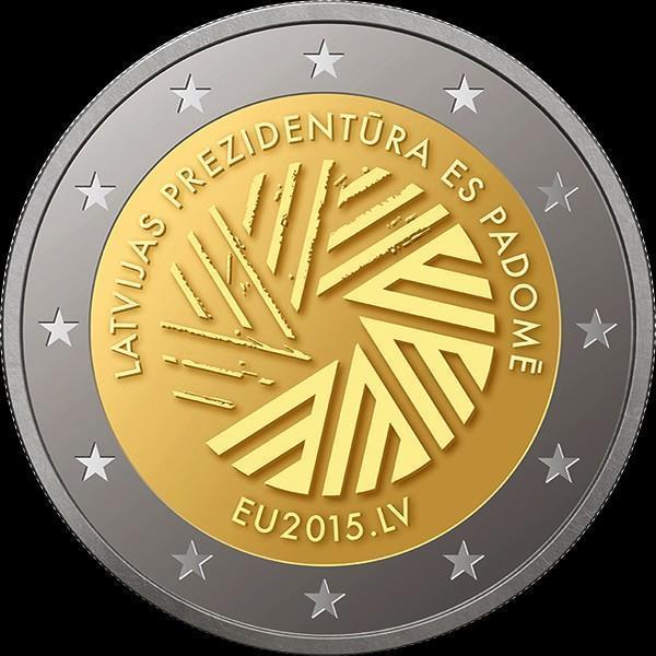 2 евро 2015 Латвия. Председательство Латвии в ЕС.