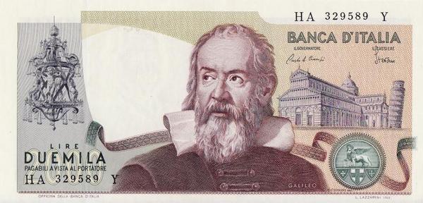 2000 лир 1973 Италия. Галилео Галилей.
