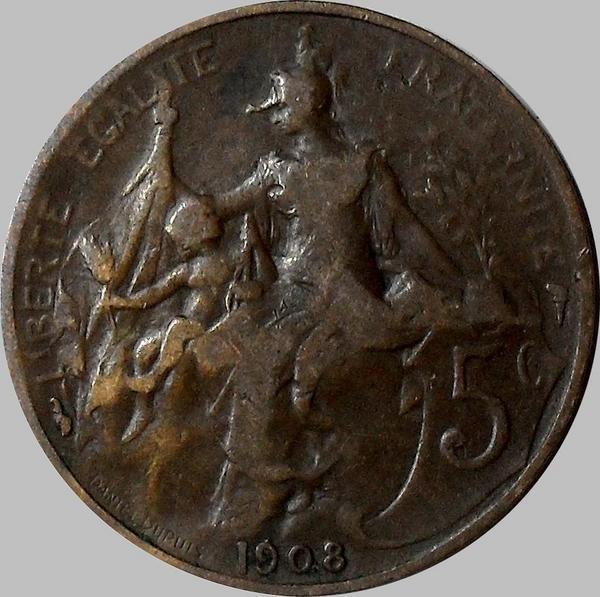5 сантимов 1908 Франция.