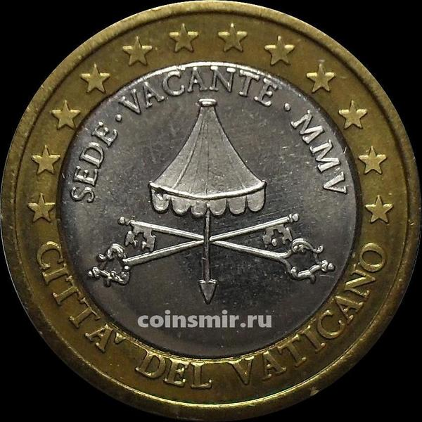 1 евро 2005 Ватикан. Европроба. Specimen.