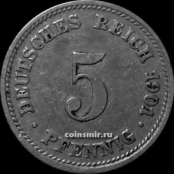 5 пфеннигов 1901 D Германия.