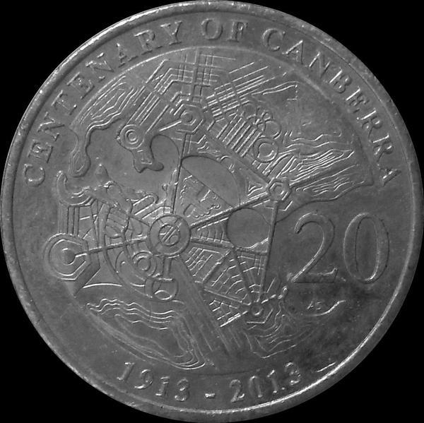 20 центов 2013 Австралия. 100 лет Канберре.
