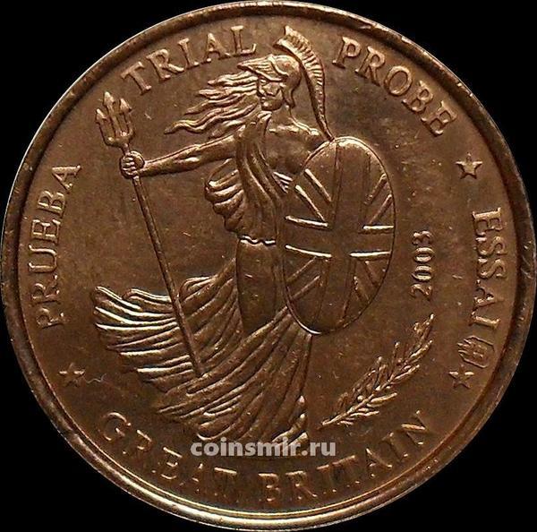 1 евроцент 2003 Великобритания. Европроба. Specimen.