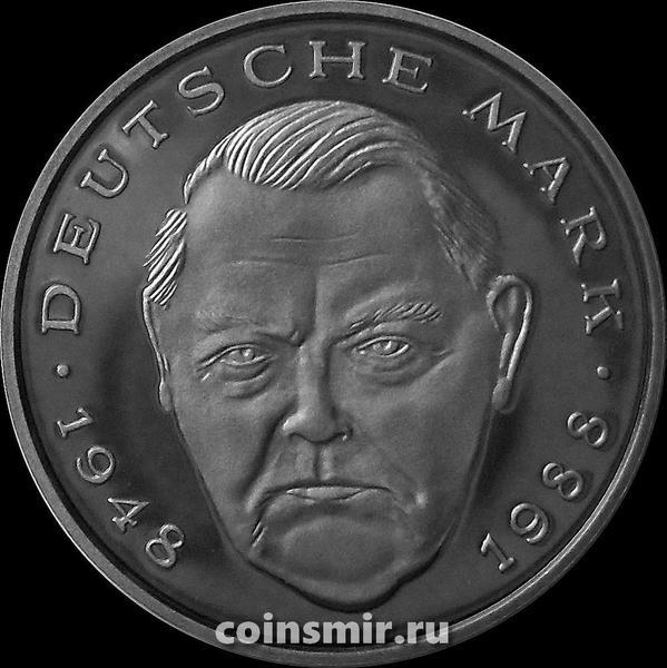 2 марки 1989 G Германия (ФРГ). Людвиг Эрхард. Пруф.