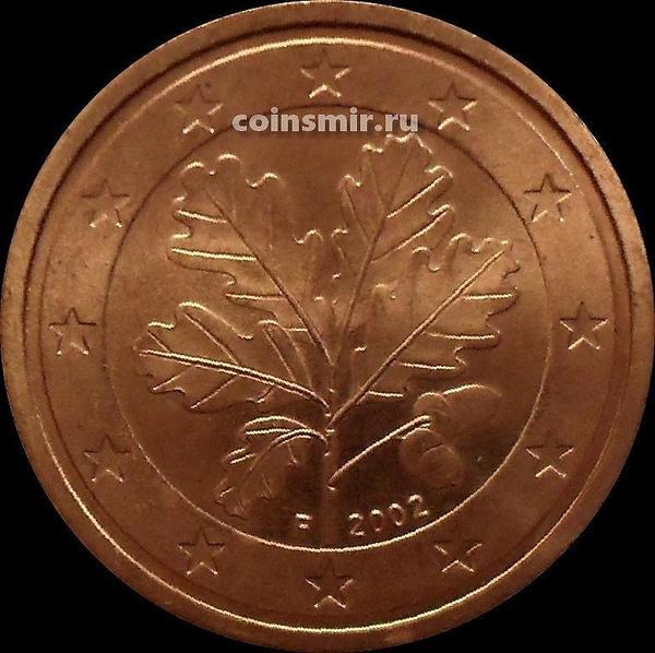 2 евроцента 2002 F Германия. Листья дуба.