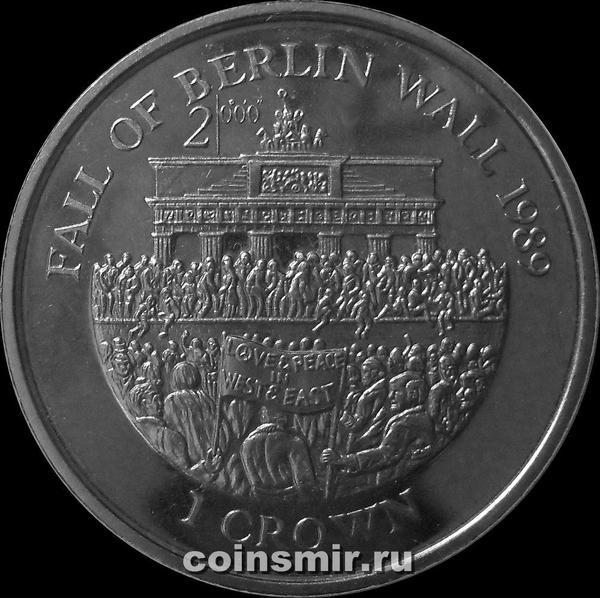 1 крона 2000 Остров Мэн. Падение берлинской стены.