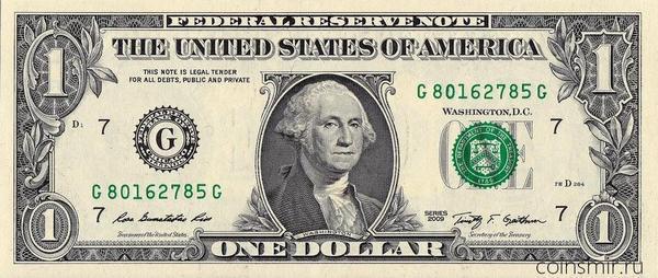 1 доллар 2009 G США.