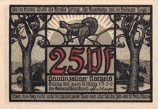 25 пфеннигов 1922 Германия. г. Паулинцелла . Нотгельд.