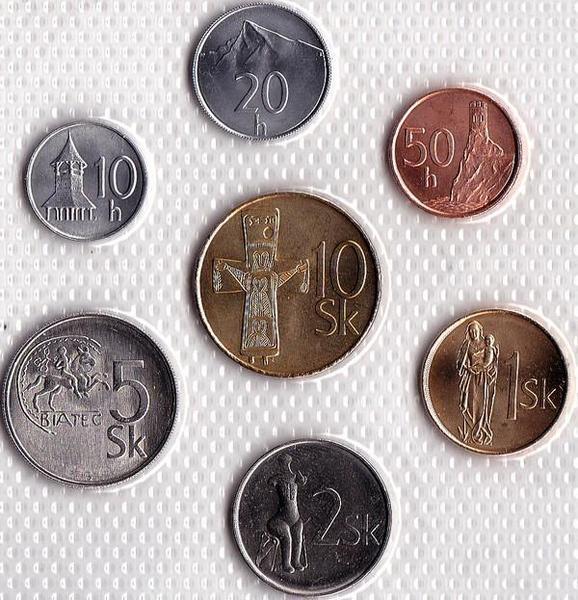 Набор из 7 монет 1994-2002 Словакия.
