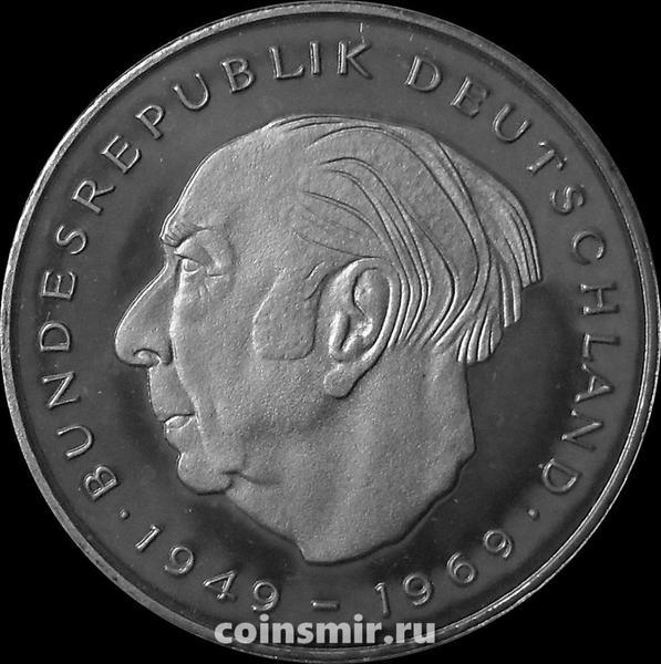 2 марки 1980 F Германия (ФРГ). Теодор Хойс. Пруф.