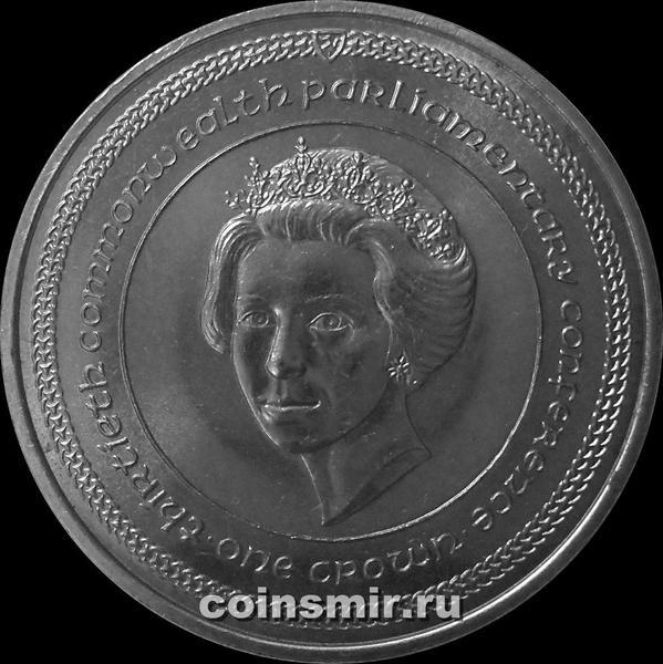 1 крона 1984 остров Мэн. 30-ая Парламентская конференция Содружества.