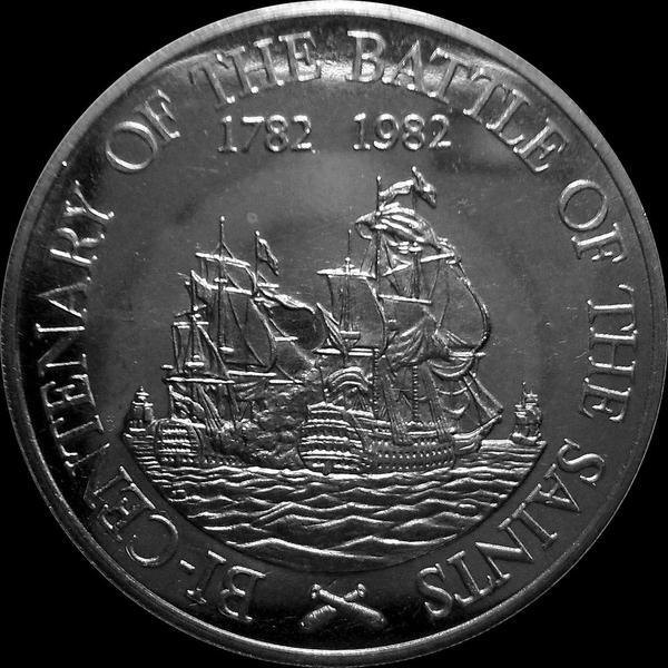 20 долларов 1982 остров Сент-Китс и Невис. 200-летие  сражения у островов Всех Святых.