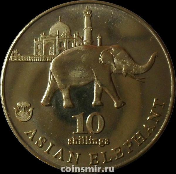 10 шиллингов 2017 Биафра. Азиатский слон.