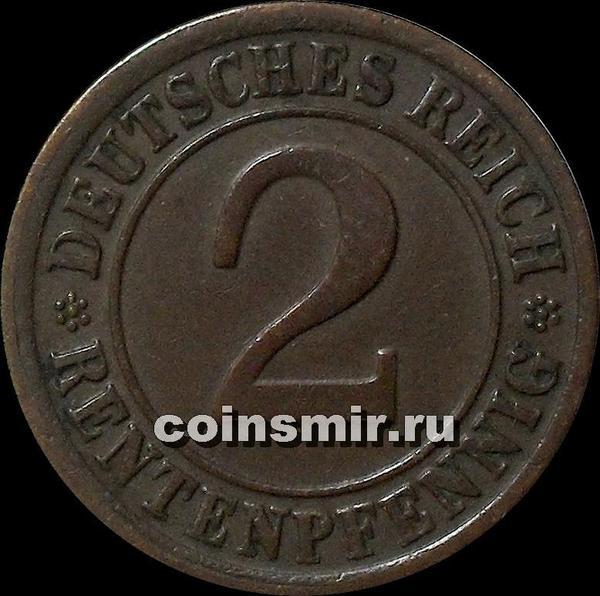 2 пфеннига 1924 F Германия. RENTENPFENNIG