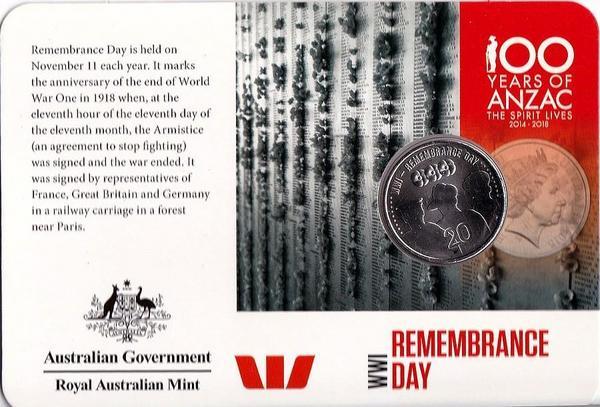 20 центов 2015 Австралия. День памяти. АНЗАК - Первая Мировая Война 1914-1918.  Открытка.